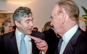 Rupert Murdoch (right) got them all hooked: including former British Prime Minister Gordon Brown.