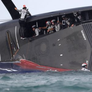 American Magic's yacht capsizes