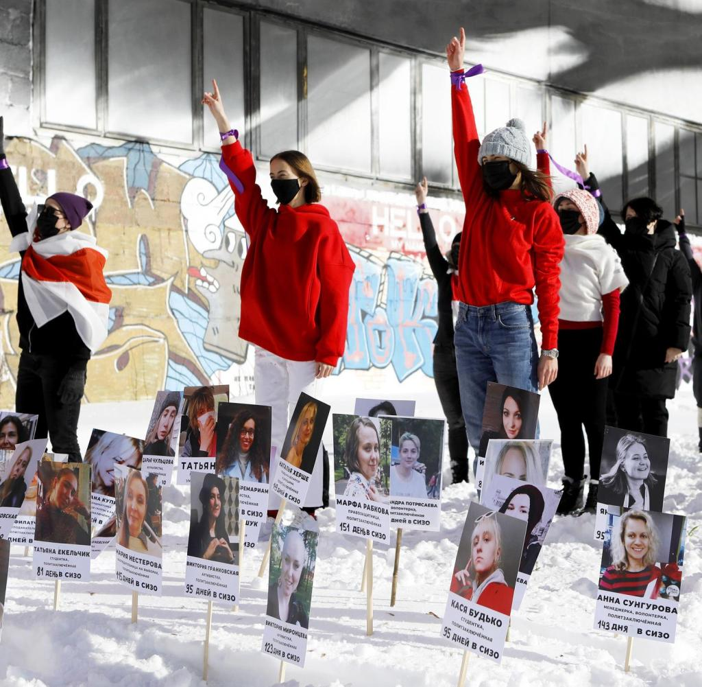 Rapid mobs for freedom: Feminist activists fight for political prisoners in Minsk mid-February. Their number has continued to rise since then