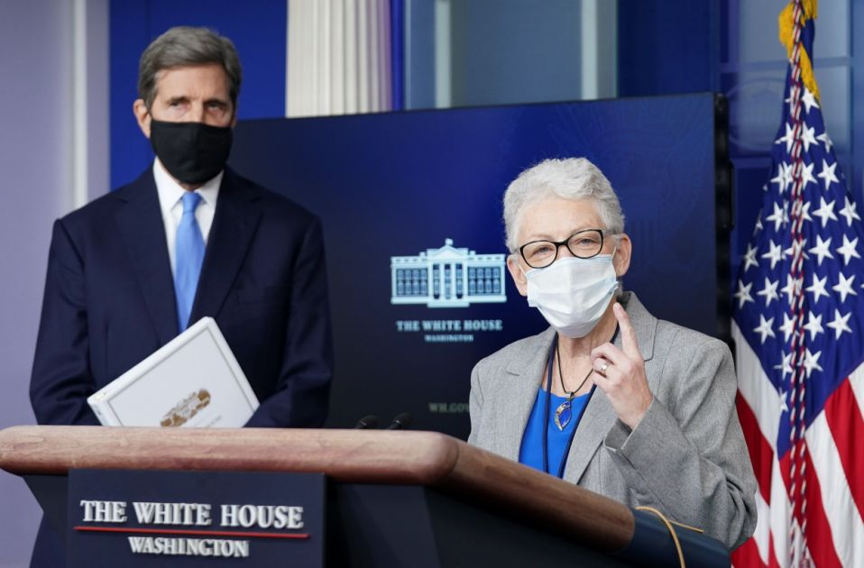 US climate envoy John Kerry listens as climate advisor Gina McCarthy speaks during a press conference at the White House in Washington, US, Jan 27, 2021. Reuters / Kevin Lamarck