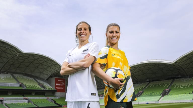 Stephanie Catley of Australia and Rebecca Stott of New Zealand pictured during the announcement of Australia and New Zealand's joint bid to host the 2023 FIFA Women's World Cup