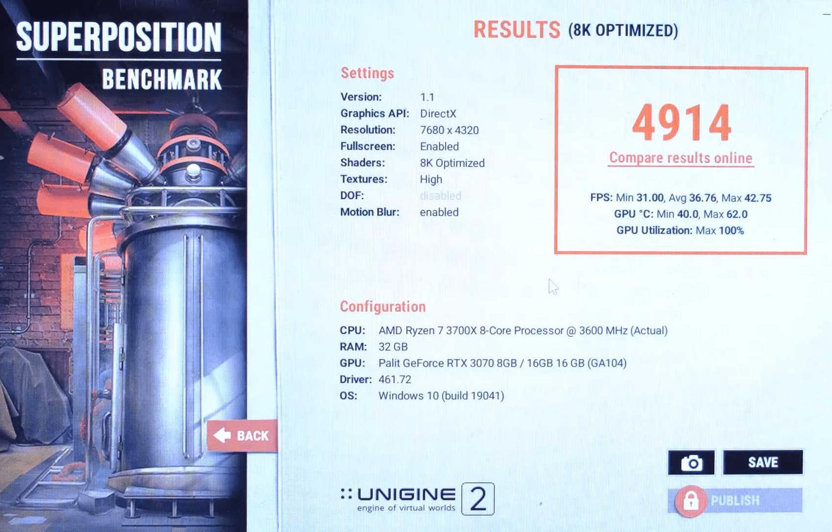 Die GeForce RTX 3070 16GB in overlay mode