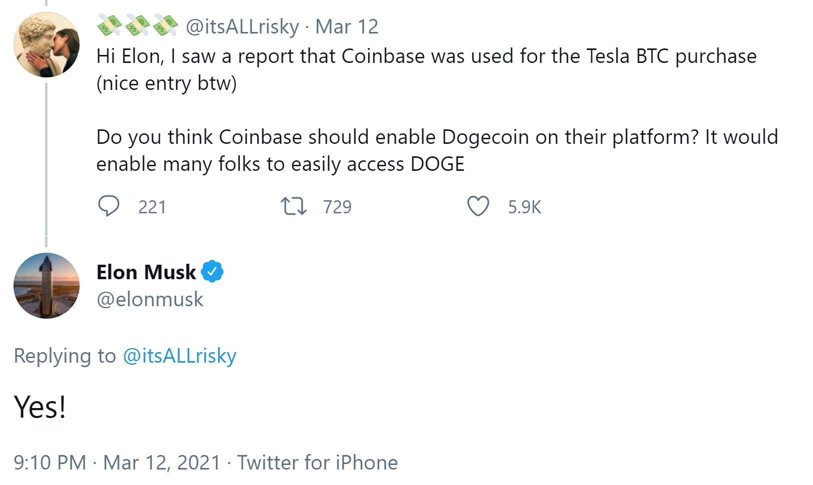 Elon Musk wants Coinbase to list Dogecoin as the cryptocurrency becomes increasingly adopted
