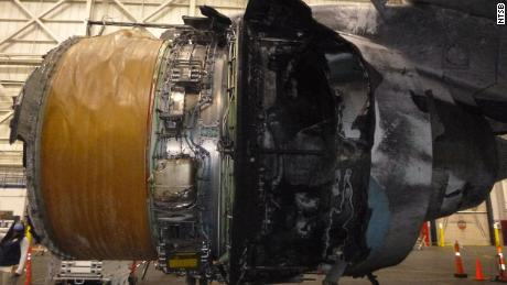 Fire damage can be seen in the right engine of United Airlines Flight 328 in this undated photo from the National Transportation Safety Board.