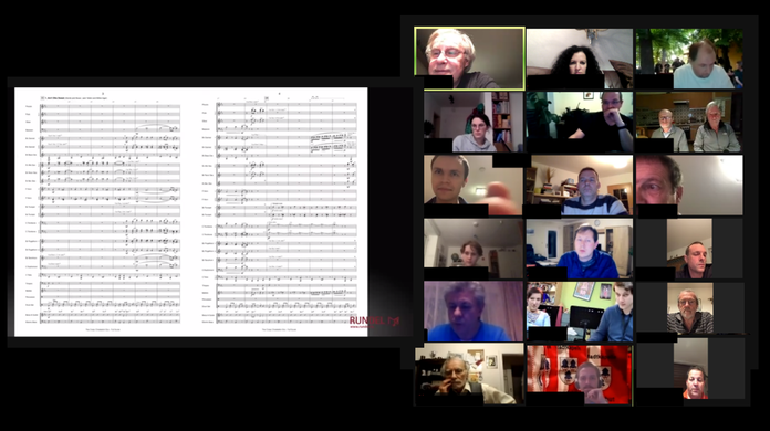 Once a week, the town band members hold a videoconference to discuss the week's segment. But then every musician must train himself.