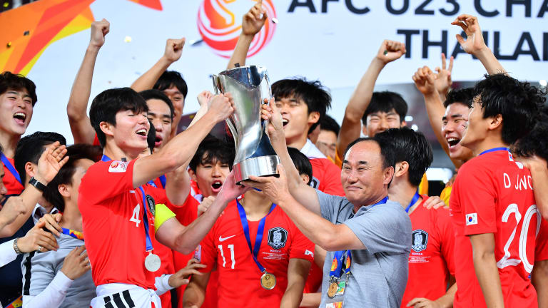 South Korea celebrates winning the AFC U-23 Championship 2020.