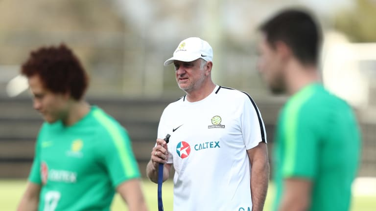 Australia coach Graham Arnold during a training session