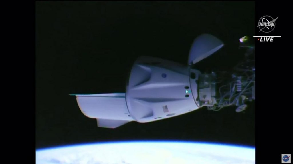 """The """"Crew Dragon"""" capsule is docked with the International Space Station"""