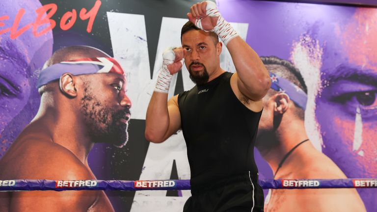 *** Free for editorial use ***.  Joseph Parker trains in Battle Hall April 28, 2021 Mark Robinson Match Room Boxing Photo