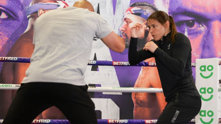 *** Free for editorial use ***.  Katie Taylor trains at Battle Hall, April 28, 2021, photo by Mark Robinson Matchroom Boxing