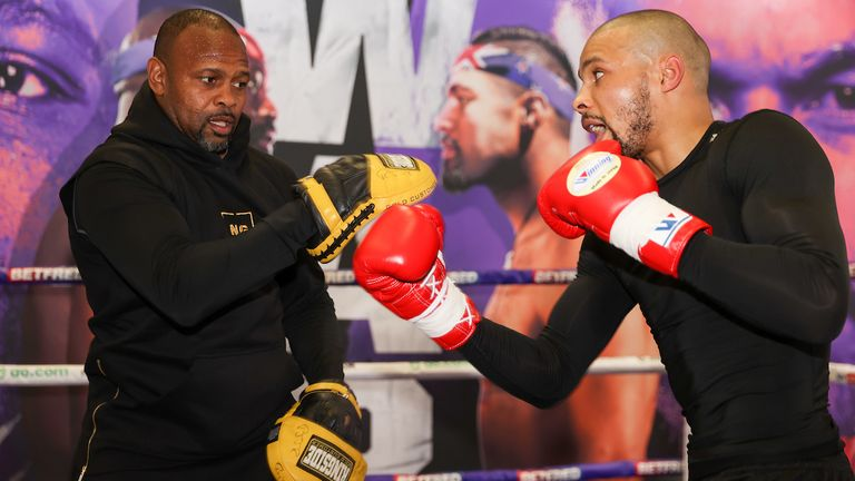 *** Free for editorial use ***.  Chris Yubank Jr. training at Battle Hall with Coach Roy Jones Jr., April 28, 2021, photo by Mark Robinson Matchroom Boxing