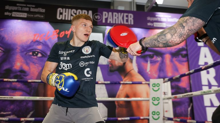 *** Free for editorial use ***.  Campbell Hutton training in Battle Hall April 28, 2021 Photography by Mark Robinson Match Room Boxing