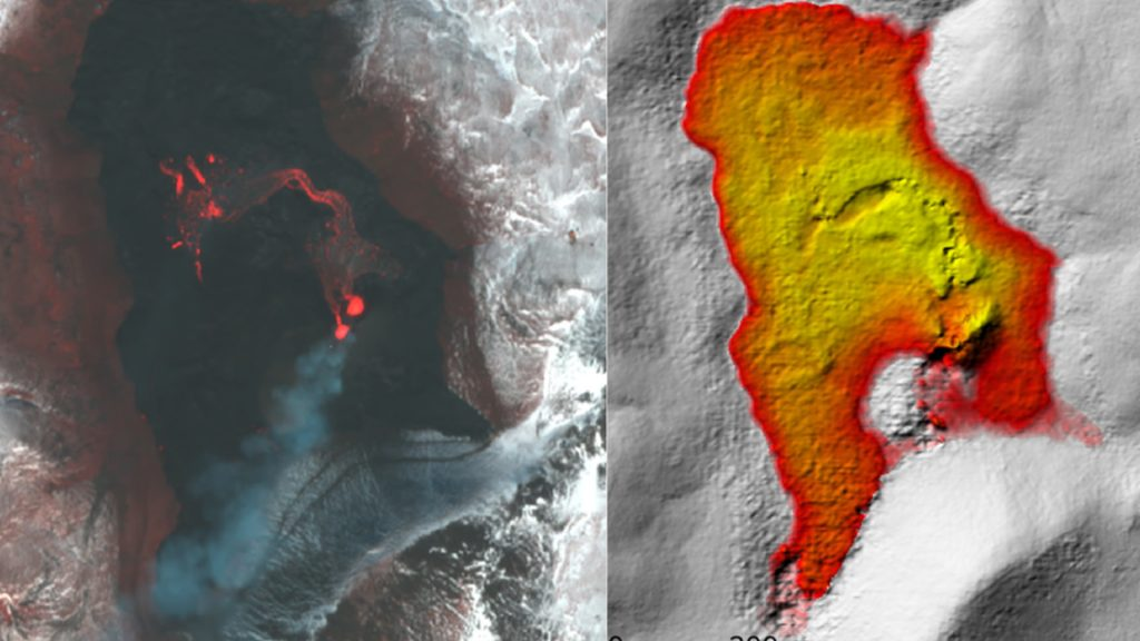 How was the eruption of this volcano measured from space