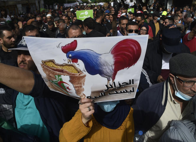 Anti-French banner during the Hirak demonstration in Algiers, April 9, 2021.
