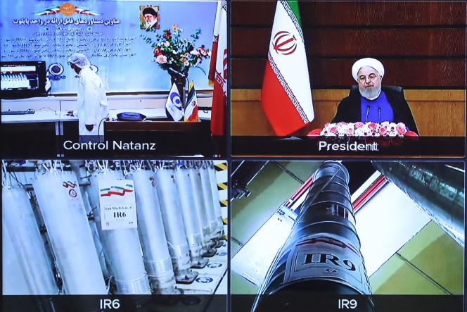 Screen capture from the video conference showing the centrifuges at the Natanz Uranium Enrichment Plant (Iran), April 10, 2021.