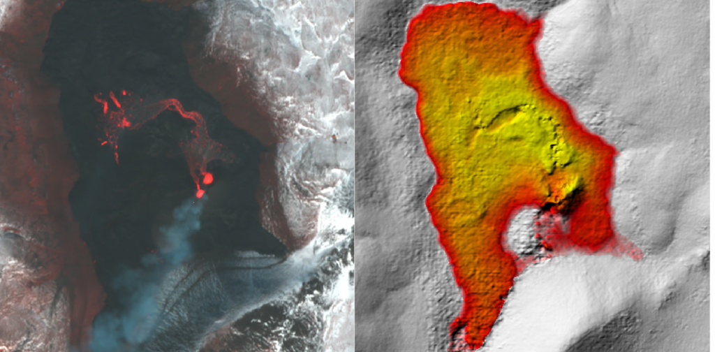 Measure the eruption of a volcano from space in real time
