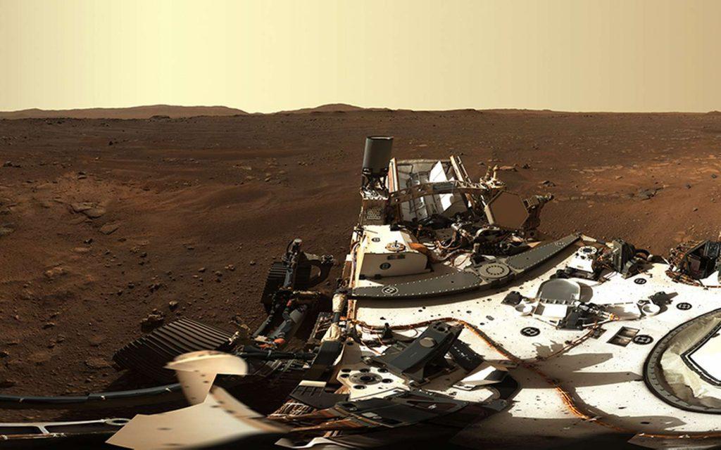 Extrait du premier panorama de Mars photographié avec la Mastcam-Z de Perseverance. © Nasa, JPL-Caltech