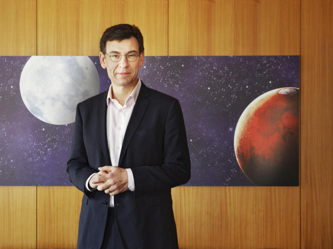 Philippe Baptiste, the new president of the National Center for Space Studies, at his office in Paris on April 20.