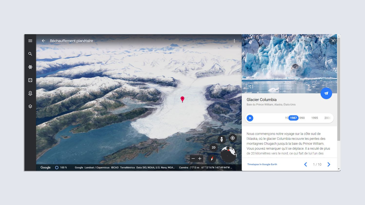 """The Timelapse function in Google Earth makes it possible to visualize global warming in 3D: """"The summary gets tangible"""""""