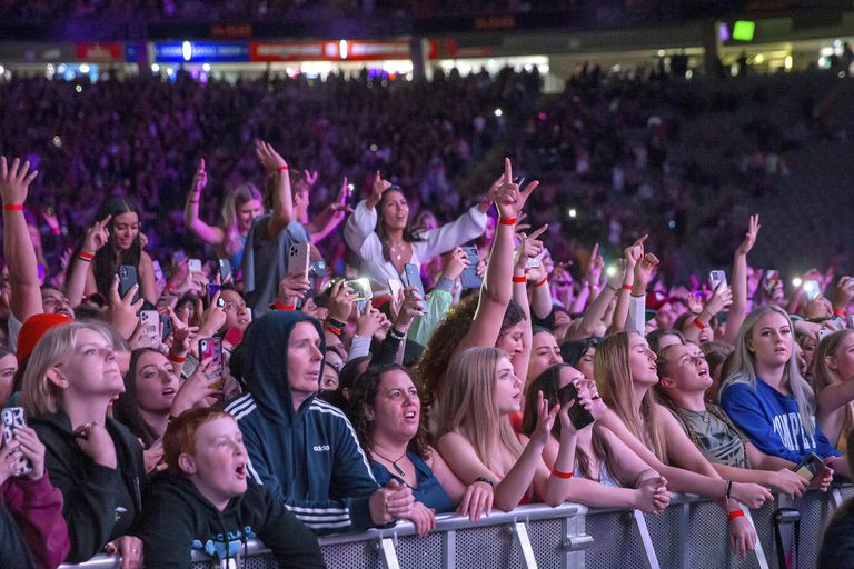 Fans react as New Zealand band Six60 performs at Eden Park in Auckland, New Zealand, on Saturday, April 24, 2021.