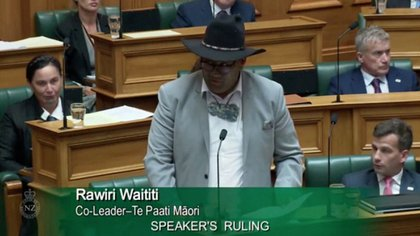 Maori Party leader, Roeri Waititi, speaks at Parliament in Wellington, New Zealand, on February 9, 2021 in this still image taken from a video clip of February 9, 2021. Parliament TV, Office of the House Secretary, New Zealand / via Reuters TV