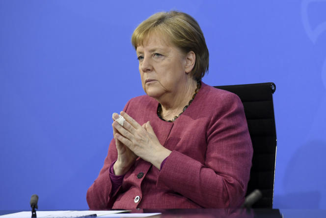 German Chancellor Angela Merkel at a press conference after a video conference with the heads of the country's 16 provinces in Berlin, May 27, 2021.