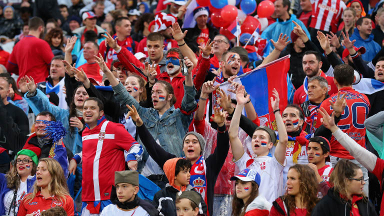 New Zealand is covered with stars. Serbia rises