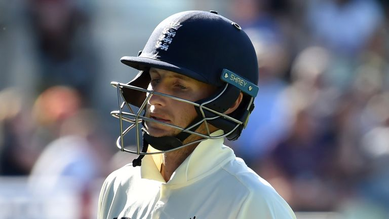 England captain Joe Root walks away after being sacked for 11 in the second Test against New Zealand