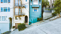 Beautiful view of historic apartment buildings on famous Philbert Street in San Francisco