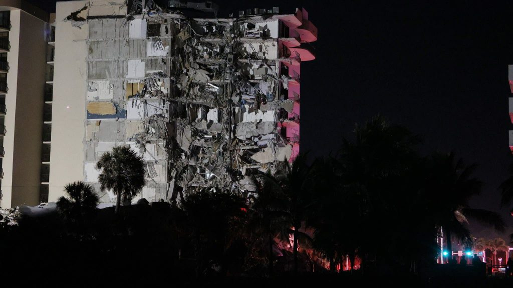 A building partially collapsed in Miami Beach