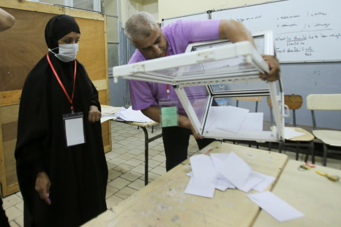 Counting is underway at a polling station in Algiers, Saturday 12 June 2021.