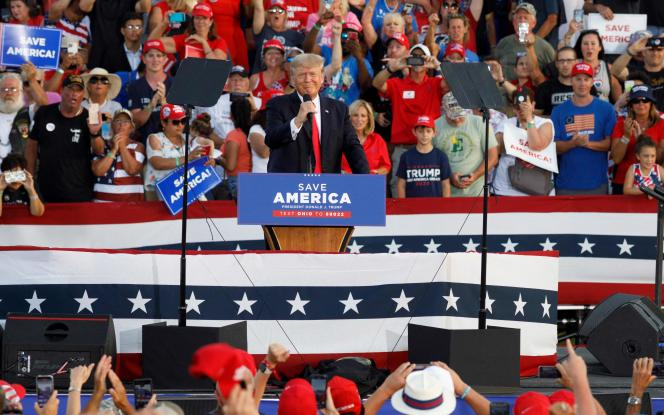 Donald Trump on the podium during a campaign rally in Wellington, Ohio, June 26, 2021.