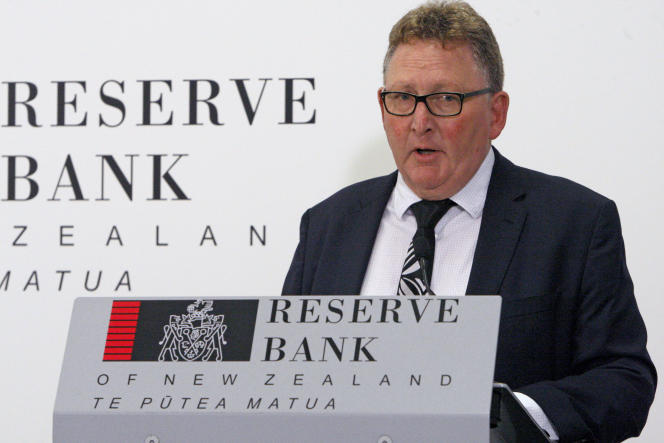 Reserve Bank of New Zealand Governor Adrian Orr at a press conference on May 8, 2019.
