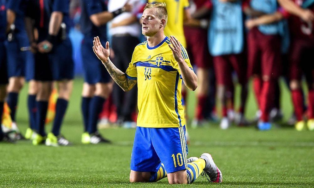 June 30, 2015 Prague Czech Republic 150630 Swede John Gedetti in an under-21 football match under 2