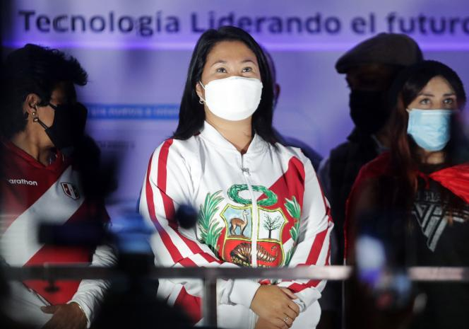 Candidate Keiko Fujimori on June 12 in Lima during a demonstration.