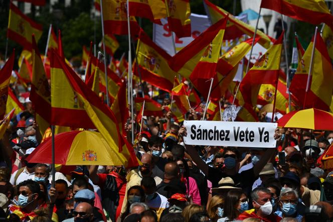 A demonstration in Madrid against the amnesty that Pedro Sanchez intends to grant to Catalan separatists, Sunday 13 June 2021.