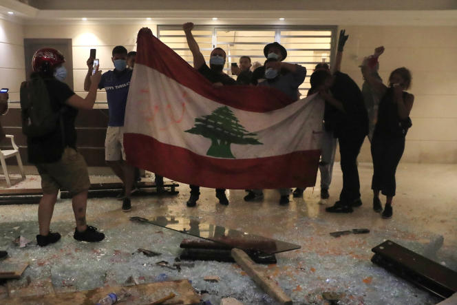 Relatives of the Beirut port explosion victims were able to enter the building that houses the temporary home of the Minister of Interior on July 13, 2021.