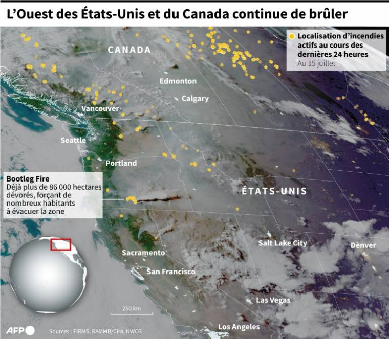 Satellite image of the western United States and Canada showing the locations of active fires from 24 hours to July 15 (AFP/)