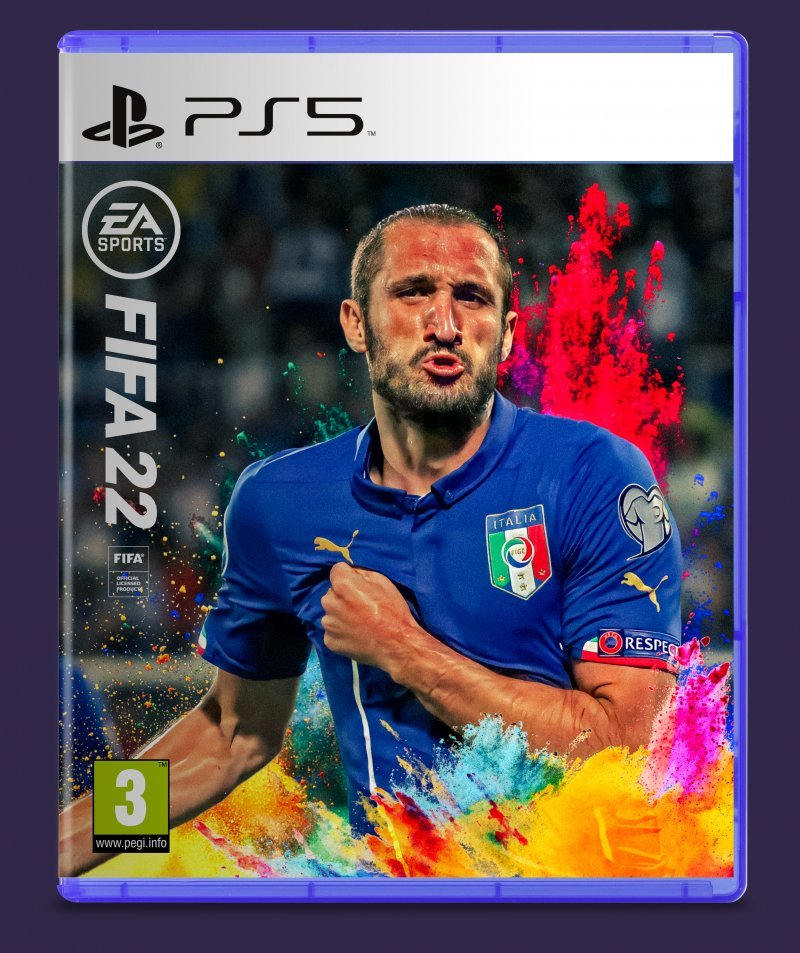 A bolder cover, where Giorgio Chiellini can be seen cheering after a goal in a blue jersey