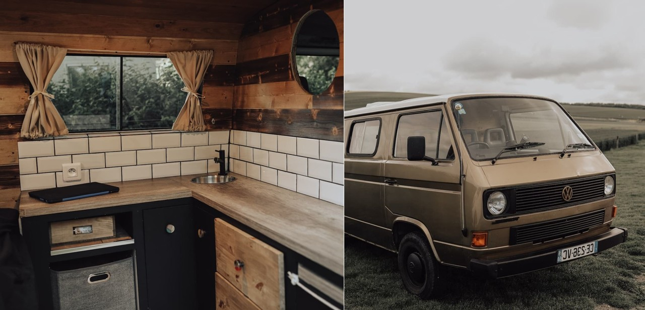 The two partners are able to create a real living space in the back of the truck!
