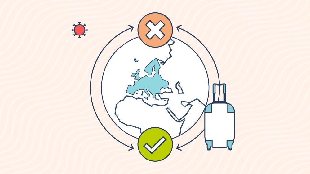 Icone che rappresentano il globo, una valigia e un virus.