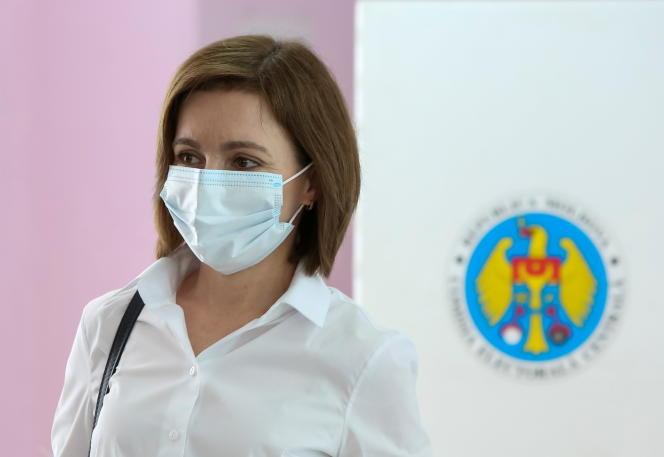 Moldovan President Maya Sandu casts his vote in a snap parliamentary election in Chisinau, Moldova on July 11, 2021.
