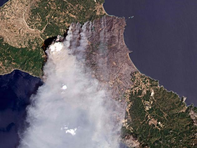 A satellite image of the island of Evia during a fire on August 7, 2021.