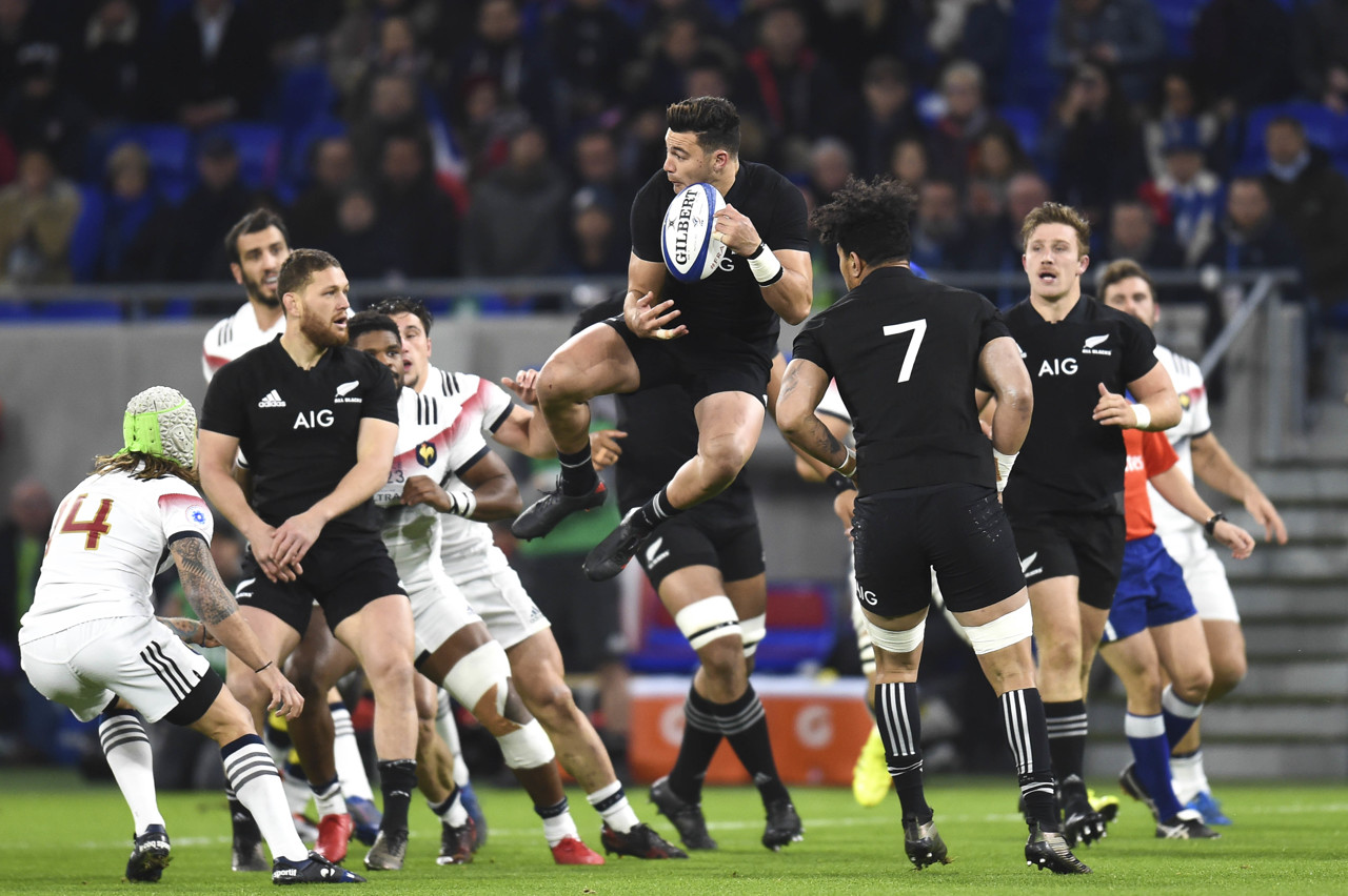 David Haveli with the All Blacks, here against XV from France in Lyon in November 2017.