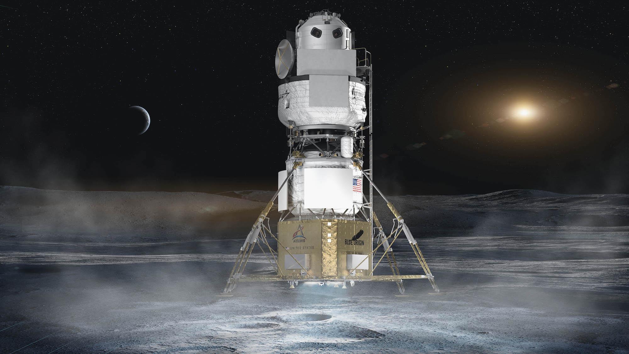 The national team's lunar lander combining Blue Origin, Lockheed Martin, Northrop Grumman and Draper Laboratory.  Credit: Blue Origin.