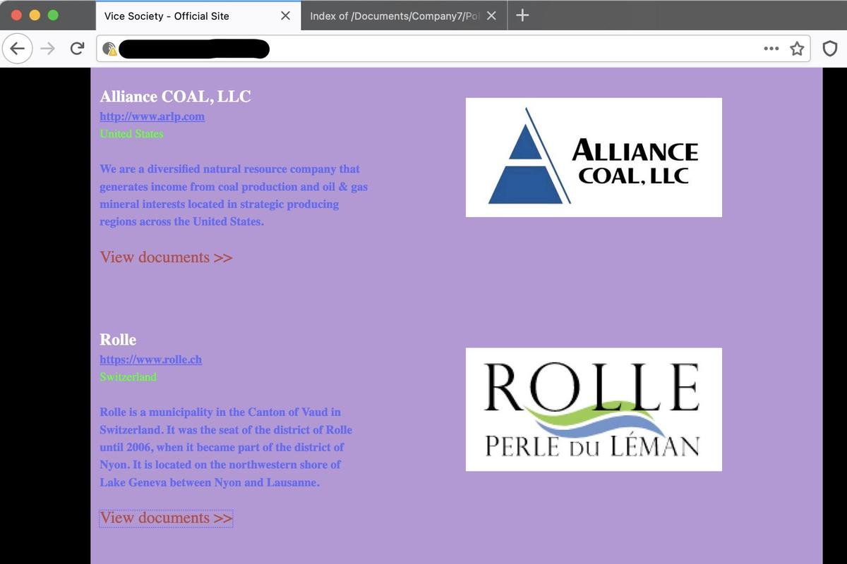 Another photo from the hacker's website homepage, where Rolle rubs the shoulders of other victims of the group, an American coal company.