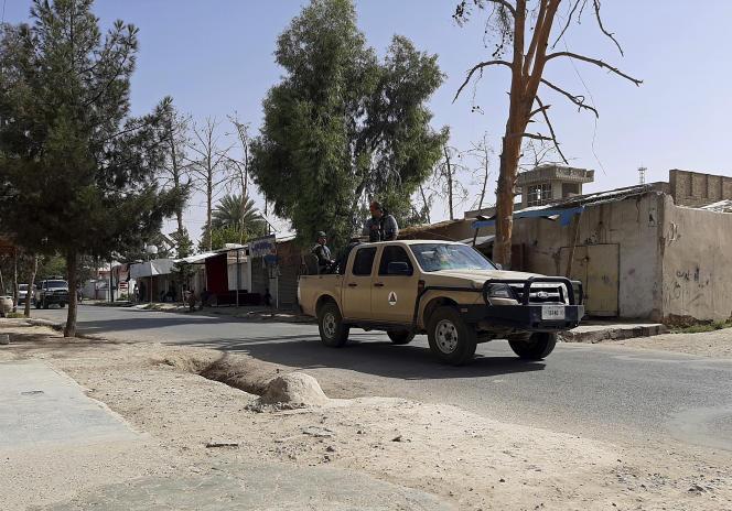 Afghan forces patrol a deserted street in Lashkar Gah, Helmand Province, Afghanistan, August 3rd.