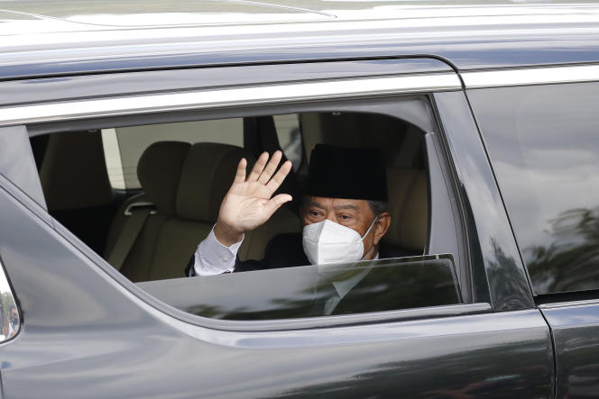 Malaysian Prime Minister Muhyiddin Yassin arrives at the National Palace to meet the King in Kuala Lumpur on August 16, 2021.