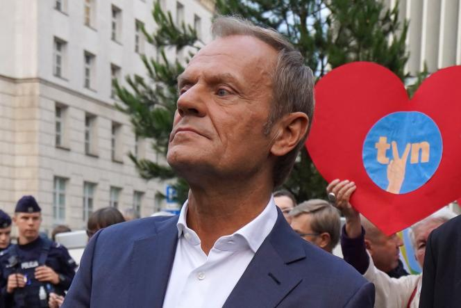 Donald Tusk, former Prime Minister (Civil Tribune), during a demonstration against the audiovisual law, in Warsaw, on August 10, 2021.