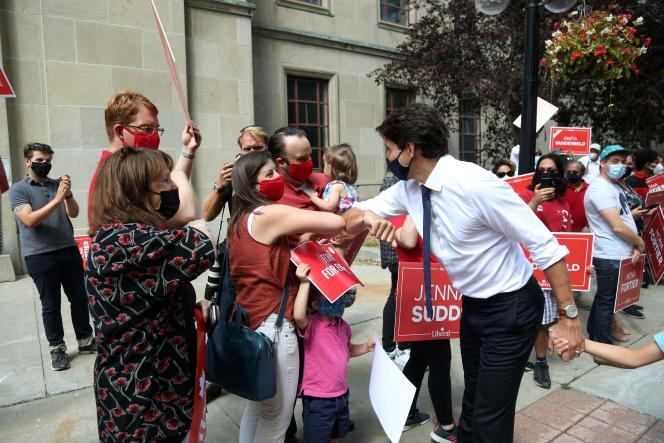 Justin Trudeau campaigning in Ottawa, Canada, August 15, 2021.